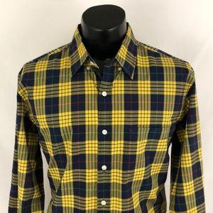 J. Crew Tartan Button Up Shirt Plaid Yellow Blue L